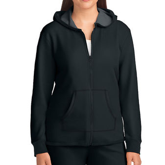 Hanes Women\'s French Terry High Low Zip Hoodie - Black 4B01