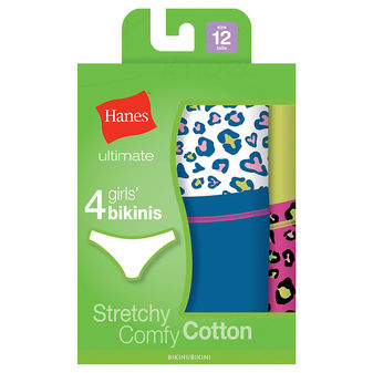 Hanes TAGLESS Cotton Stretch Girls\' Bikinis 4-Pack GUCKP4