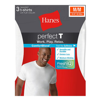 Hanes ComfortBlend Mens Perfect T White Crewneck Undershirt 3-Pack 2535H3