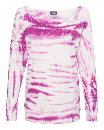 MV Sport Women\'s French Terry Off-the-Shoulder Tie-Dyed Sweatshirt W20173