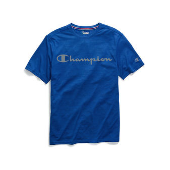 Champion Men\'s Double Dry Heather Mesh Textured Tee, Script Logo