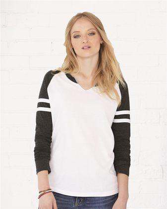 LAT Women\'s Fine Jersey Mash Up Long Sleeve T-Shirt 3534