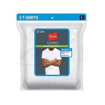 Hanes Classics Mens Traditional Fit ComfortSoft TAGLESS Crewneck Undershirt 3-Pk 7870W3
