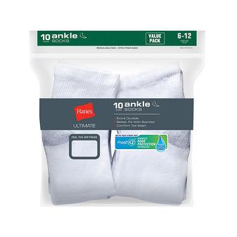 Hanes Ultimate® Men\'s Cushion Ankle Socks 10-Pack 86U10