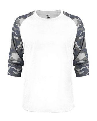 Badger Vintage Camo Triblend Baseball T-Shirt 4971