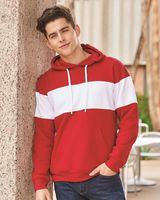 J. America Varsity Fleece Colorblocked Hooded Sweatshirt 8644