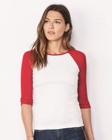 BELLA + CANVAS Women's 1X1 Baby Rib Raglan Three-Quarter Sleeve Tee 2000