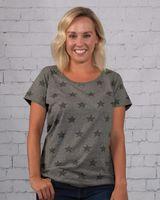 Code Five Women's Star Print Scoop Neck T-Shirt 3629