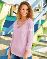 MV Sport Women's Hailey Henley Three-Quarter Sleeve Shirt W1454