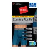 Hanes Men's Comfort Flex Fit® Ultra Soft Cotton Stretch Long Leg Boxer Briefs 4-Pack (3 + 1 Free Bonus Pack) CFFLC4