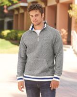 J. America Peppered Fleece Quarter-Zip Sweatshirt 8703