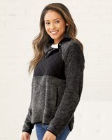 Boxercraft Women's Quilted Fuzzy Fleece Pullover FZ06