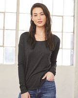 BELLA + CANVAS Women's Flowy 2x1 Ribbed Long Sleeve Tee 8852