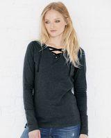 LAT Women's Fine Jersey Lace-Up Long Sleeve T-Shirt 3538