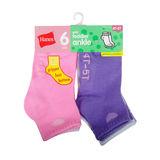 Hanes Infant/Toddler Girls' Ankle Socks 6-Pack 37T6