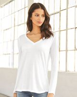 BELLA + CANVAS Women's Flowy Long Sleeve V-Neck Tee 8855