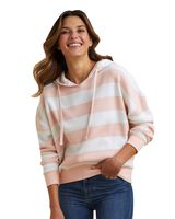 MV Sport Women's Striped Fleece Boxy Hooded Sweatshirt W21721