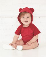 Rabbit Skins Fine Jersey Infant Short Sleeve Raglan Bodysuit with Hood & Ears 4417