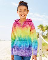 MV Sport Girls' Courtney Burnout V-Notch Hooded Sweatshirt W1162Y