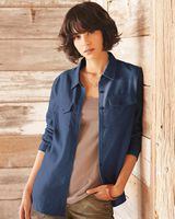 Burnside Women's Long Sleeve Solid Flannel Shirt 5200