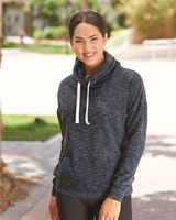 J. America - Women's Melange Fleece Cowl Neck Sweatshirt - 8673