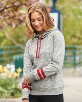 J. America - Women's Melange Fleece Striped-Sleeve Hooded Sweatshirt - 8674