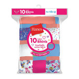 Hanes Girls' Cotton Bikinis 10-Pack GP10BK
