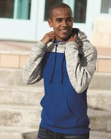 J. America - Melange Fleece Colorblocked Hooded Sweatshirt - 8676