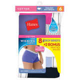 Hanes Women's Cool Comfort Sporty Boy Brief P6+2 free (Bonus Pack) P849SC
